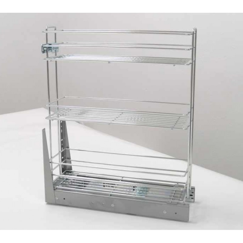 Pull Out Soft Close Three Tier Wire Basket Base Storage Unit - Chrome Coating