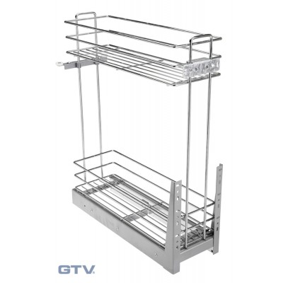 Pull Out Soft Close Wire Basket Base Storage Unit - Chrome Coating