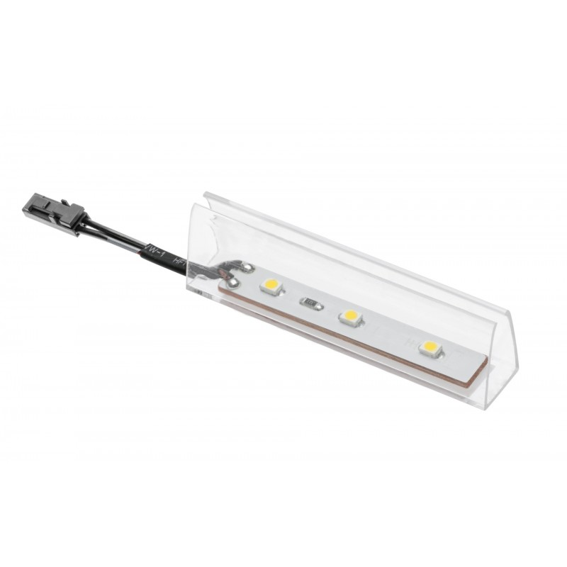 LED light with plastic clip for glass shelf