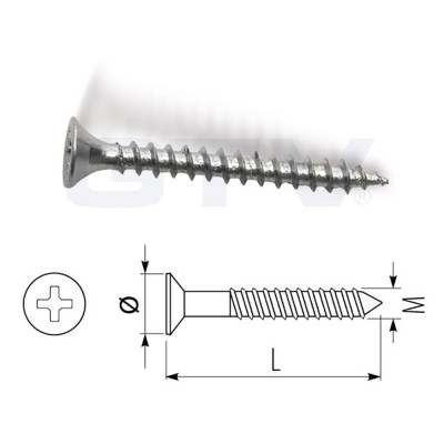 3.5mm Pozi Countersunk Fully Threaded Chipboard Wood Screws - BOX OF 1000