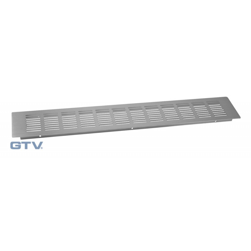 Kitchen worktop plinth heat vent grill 80x500mm Brushed Steel