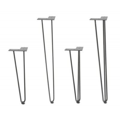 4x Hairpin Legs for Table Desk Bench with 2 or 3 Prongs Rods and Protector Feet