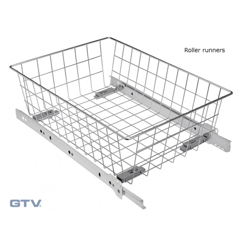 pull out wire basket drawer with roller runners silver. Black Bedroom Furniture Sets. Home Design Ideas