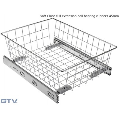 Pull Out Wire Basket Drawer with Soft Close Full Extension Ball Bearing Runners - WHITE