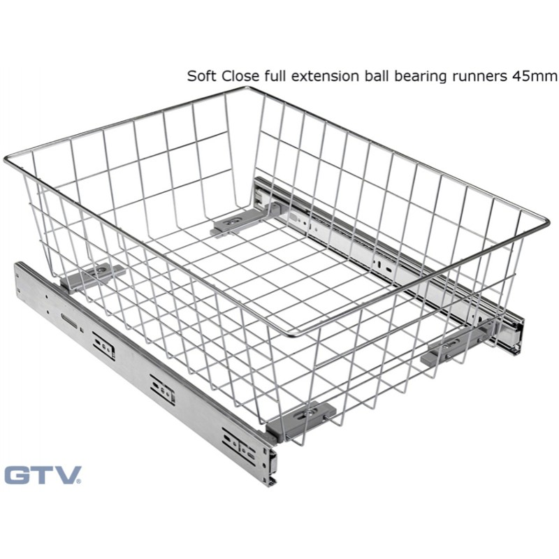 Pull Out Wire Basket Drawer with Soft Close Full Extension Ball Bearing Runners - SILVER