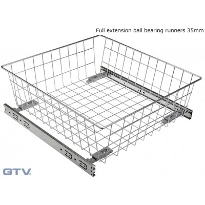 Pull Out Wire Basket Drawer with Full Extension Ball Bearing Runners - SILVER