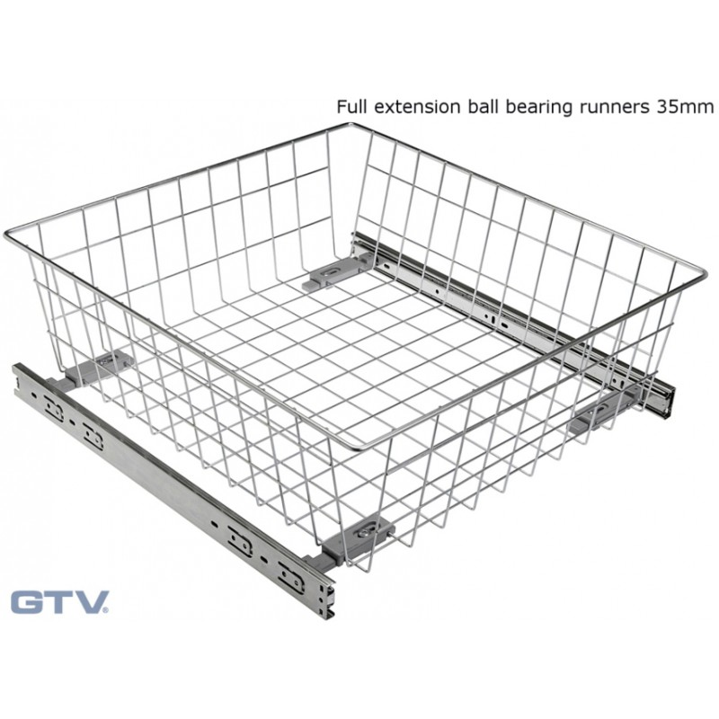 Pull Out Wire Basket Drawer with Full Extension Ball Bearing Runners - WHITE