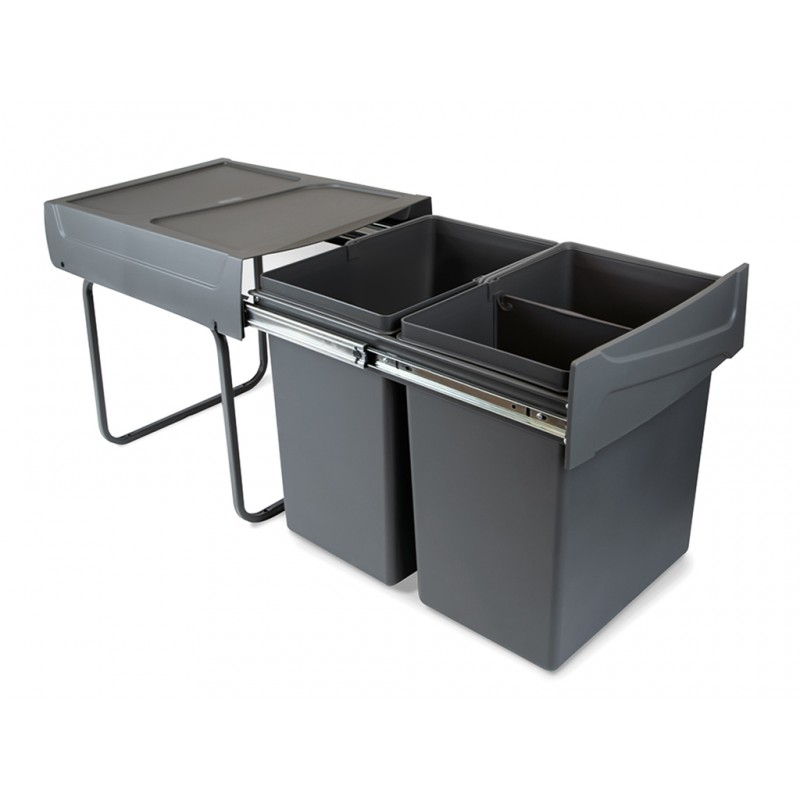 Pull Out Kitchen Waste Recycle Dust Bin 2x20L for hinged cabinets - Anthracite
