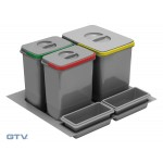 Drawer organiser Insert tray with recycling waste bins for 600mm cabinet