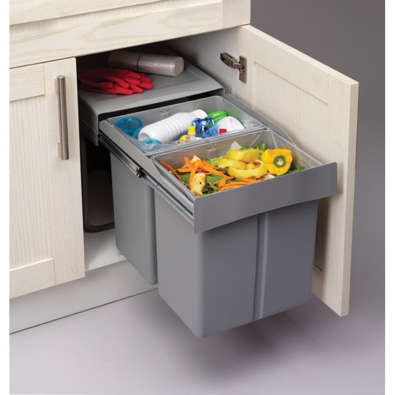 Kitchen Recycling Bins For Cabinets Pull Out Soft Close Recycle Bin For 450mm Cabinet Hinged Door Unit