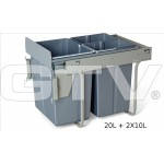 Pull Out Soft Close Recycle Bin for 400mm cabinet - Front Fixing Cabinets